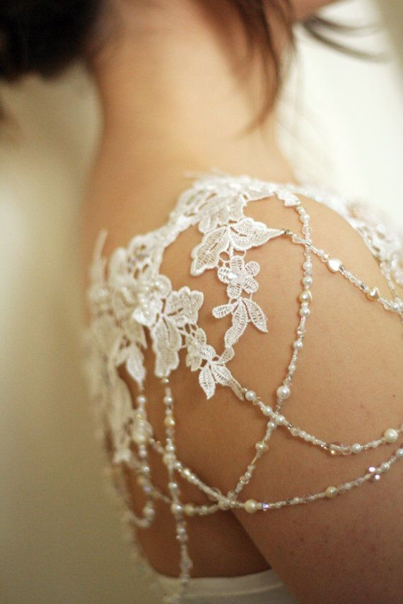 LINDEZA - Bridal Couture Lace Shoulder Necklace, Pearl And Crystal Bolero Cover…