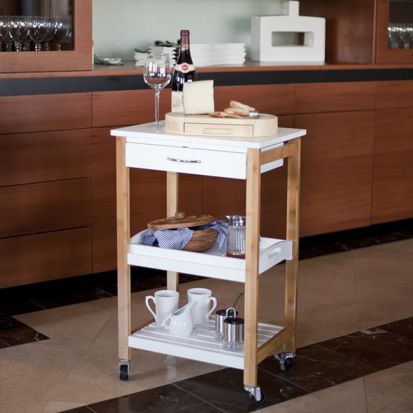 Bamboo Kitchen Utility Cart With Removable Tray And Wheels By Danya B
