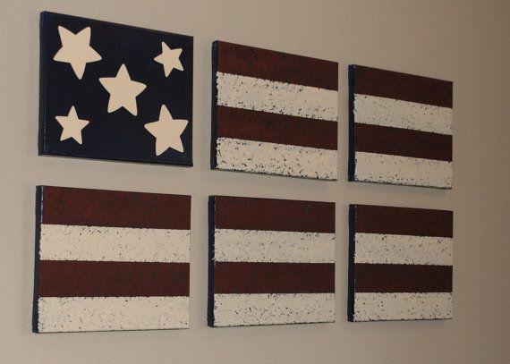 Americana Wall Decor - Acrylic Paint on Canvas, American Flag on Etsy, $70.00