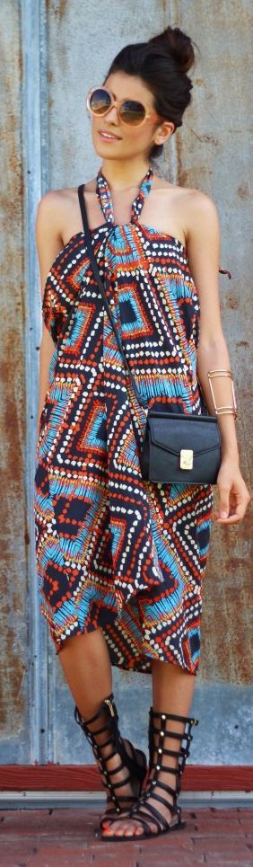 Target Multi Coloured Hippie Tribal Print Halter Maxi Dress ~ Free Generation