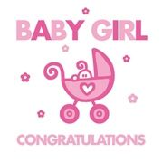 Congratulation Baby Girl | Congratulations Baby Girl Card with Pink Pram (BB483)