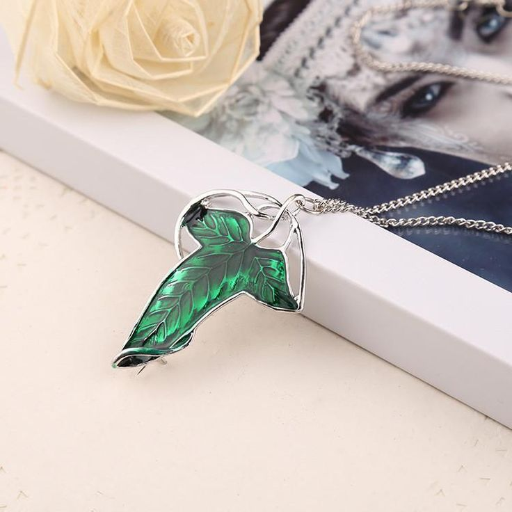 """""""FREE"""" The Lord of the Rings Green Leaf Elven  Necklace - JUST PAY SHIPPING !!!"""