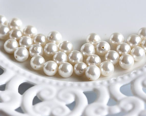25661_Ivory shell pearls 8 mm, Natural white pearls, Mother of pearl, MOP beads, Natural mother of pearl, Round pearls, Pearls beads_30 pcs.