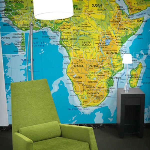 Mappa de l'Africa per decorare una parete #mappa #politica #adesivi #murali #vinile #deco #decorazione #muro #StickersMurali