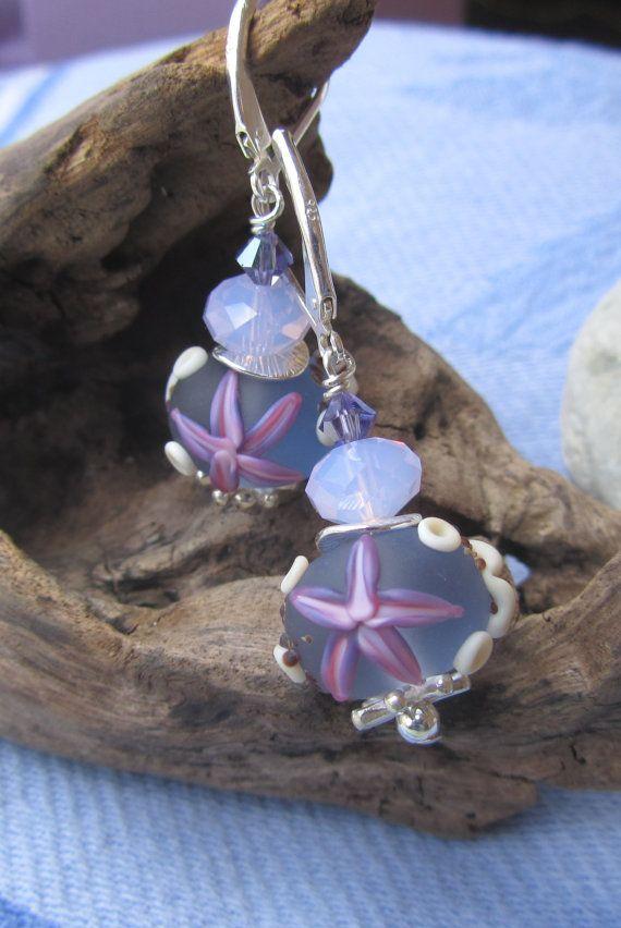 Beach Plum Lampwork Earrings on Sterling Lever Backs by JemsbyJoan, $39.50