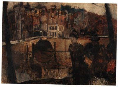 George Hendrik Breitner, The corner of the Keizersgracht and Reguliersgracht, Amsterdam, with figures in the foreground