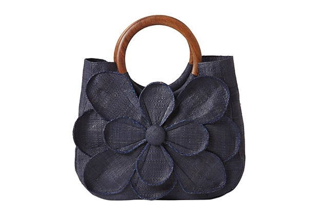 "Woven Flower Tote, Navy on OneKingsLane.com 98/55 9.5"" x 15"" x 5""   Raffia"