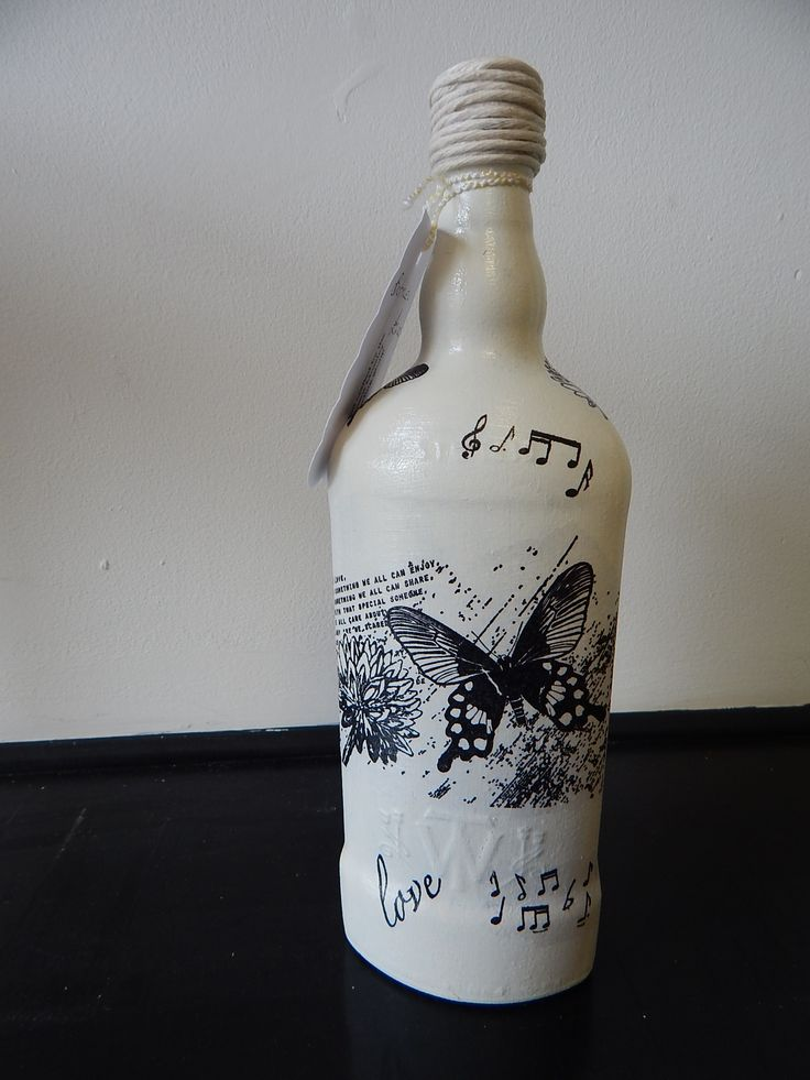 Decorative decoupaged bottle created by a member of the volunteer Upcycling Group at Emmaus Mossley. (Oct 2015)