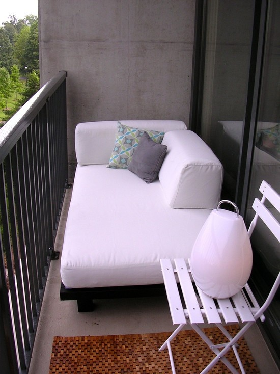 Small Balcony Sitting Area Perfect for my little balcony