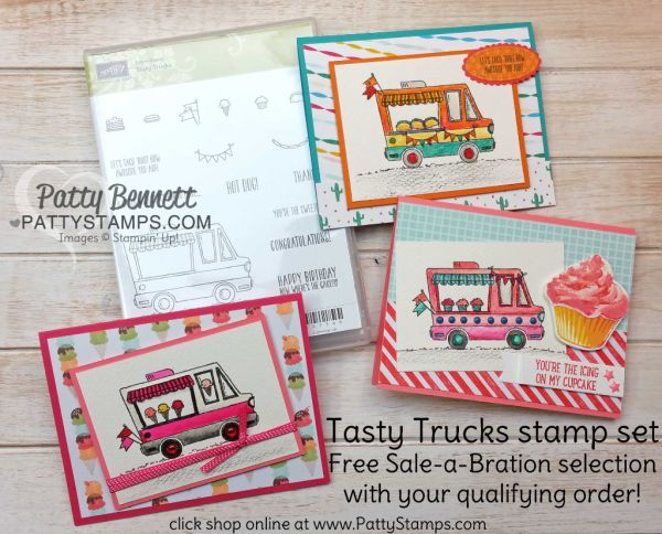 Stampin' Up! Tasty Trucks Sale-a-bration stamp set - free with $50 purchase through 3-31-17.  Taco Truck, Ice Cream Truck or Cupcake Truck.. take your pick! Stamped and created on Watercolor paper with Watercolor Pencils, Blender Pens and Aquapainter by Patty Bennett.