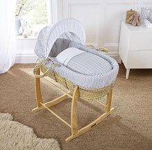 Be inspired to decorate your nursery in a minimalist theme with the Clair de Lune Barley Bébé Palm Moses Basket. Giving a nod to the Scandinavian design trend that's staying strong in 2017! It's made in the UK from super soft cotton fabrics that are gentle next to your baby's delicate skin.  The Moses basket features an adjustable hood and little coverlet for a wonderfully cosy night's sleep. Available in Blue, Grey and Pink.
