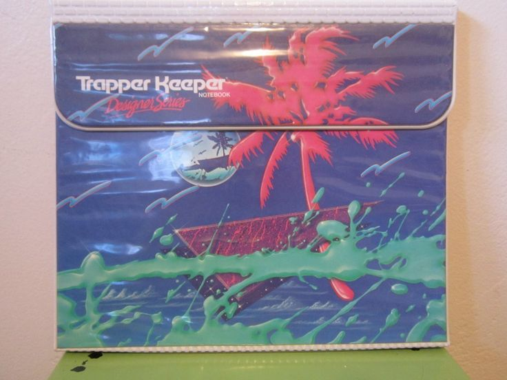 TRAPPER KEEPER designer series neon pink palm tree under sea foam green paint and geometric shape