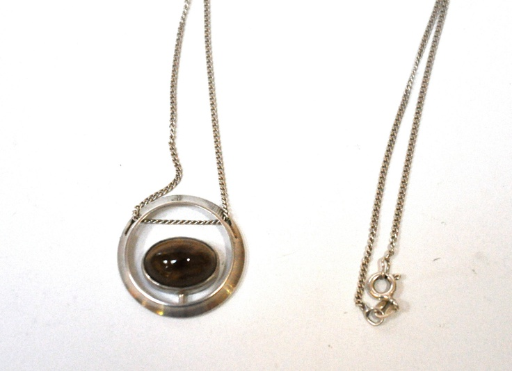 Martti Viikinniemi ~ Smokey Topaz and Silver Pendant with Fine Sterling Silver Chain.