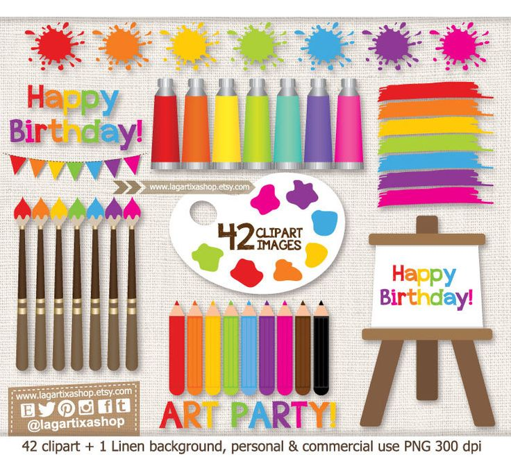 https://www.etsy.com/mx/listing/177067341/fiesta-clase-de-pintura-arte-pinceles #artparty #painting #birthdayparty #watercolor #acrylic #spots #colors #rainbow #decoration