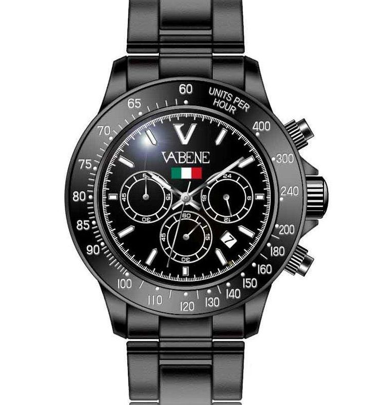 Product Description Case size: 40mm diameter Swiss made quartz battery movement Black round dial with indices Black plastic polycarbonate case Black acrylic bracelet with locking clasp Fixed stainless steel bezel Date calendar function Mineral glass crystal Water resistant to 50atm Limited Edition  https://www.amazon.co.uk/Vabene-Chrono-Collection-Watch-CH907/dp/B000X3F1WQ/ref=sr_1_9?s=watch&ie=UTF8&qid=1464884681&sr=1-9&keywords=VABENE