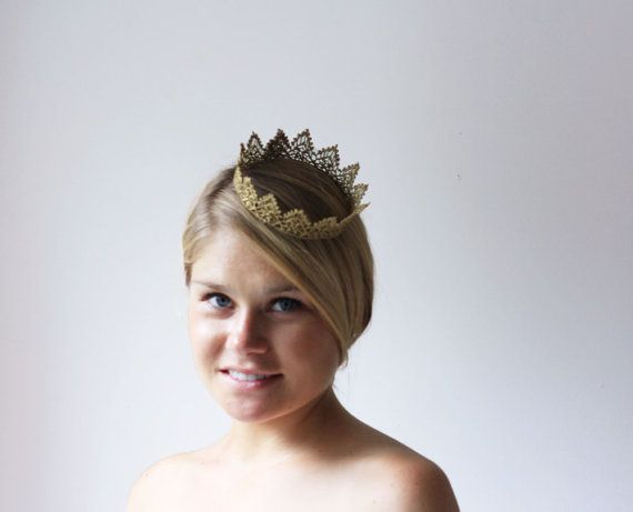 Gold Princess Royal Lace Crown   queen halloween by neesiedesigns, $12.00