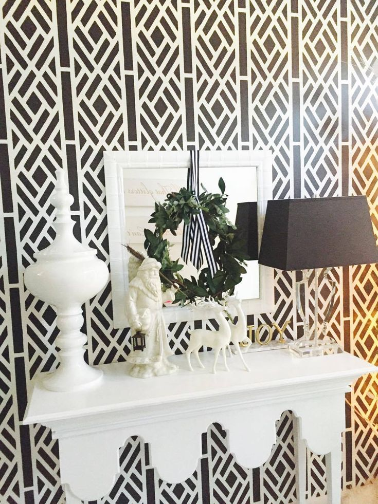 Sallie from GreyHunt Interiors LLC​ decorated her stenciled entryway with soft elements against a bold background. Wall stenciled with Lattice Allover Stencil from Cutting Edge Stencils.  Lattice Allover Stencil: http://www.cuttingedgestencils.com/lattice-stencil-pattern-kathy-peterson.html