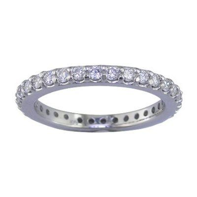 1 Ct Round Cut Diamond Eternity Wedding Band Ring in 14K White Gold (Available In Sizes 5 - 10)