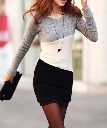 Simple Scoop Neck Long Sleeve Color Blcok Bodycon Dress For Women