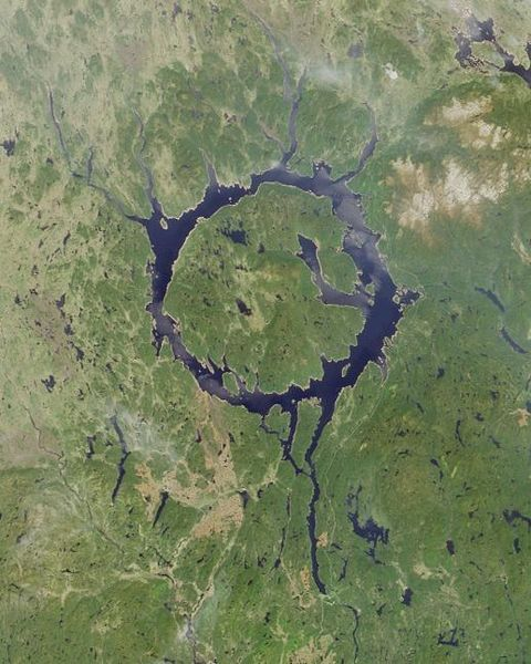 René-Levasseur Island in Quebec, the second largest island in the world located in a lake, formed in the crater from a meteorite collision - the 4th known largest impact in the history of the world - 214 million years ago. | NASA image (taken by MISR) of Lake Manicouagan