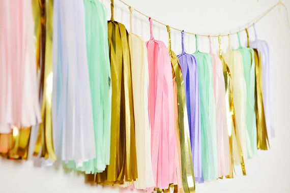 Unicorn party decorations- pastel tassel banner