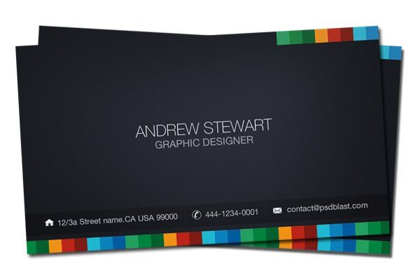 Business Card Template, Dark Theme Business Cards Free business