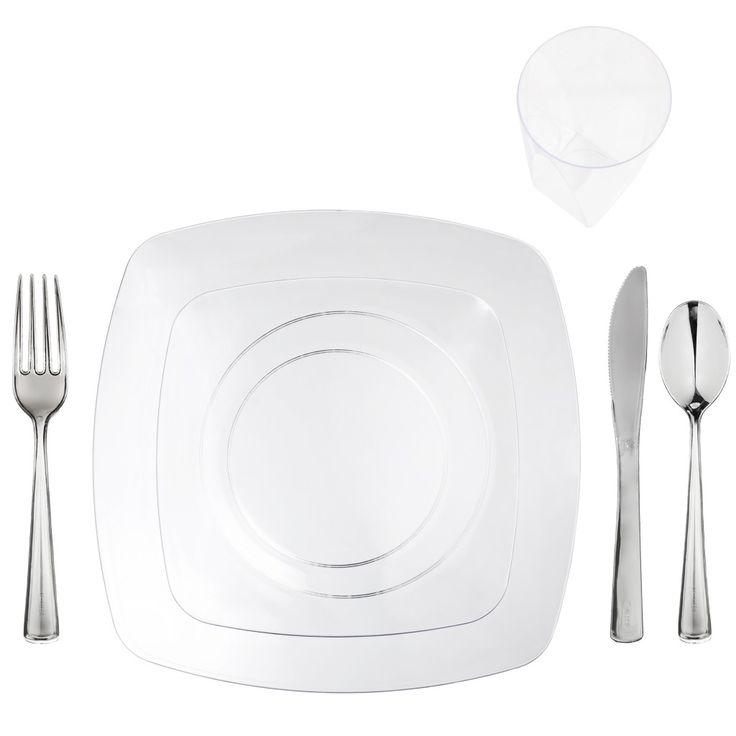 "Elegant Plastic Dinnerware for 120 ""Clear"" Renaissance Collection"