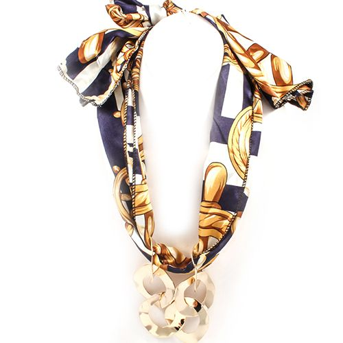 Metal Link Trendy Scarf Necklace in blue