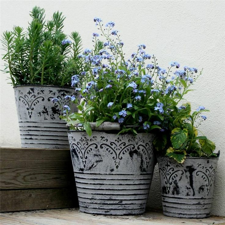 Details about vintage metal buckets planters with handles shabby chic garden flower pots tubs - Shabby chic giardino ...