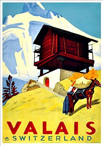 'Valais - Switzerland' - A4 Glossy Art Print Taken From A Rare Vintage Travel Poster by Vintage Travel Posters http://www.amazon.co.uk/dp/B01BHQ3DA4/ref=cm_sw_r_pi_dp_sMgTwb14NF3C5