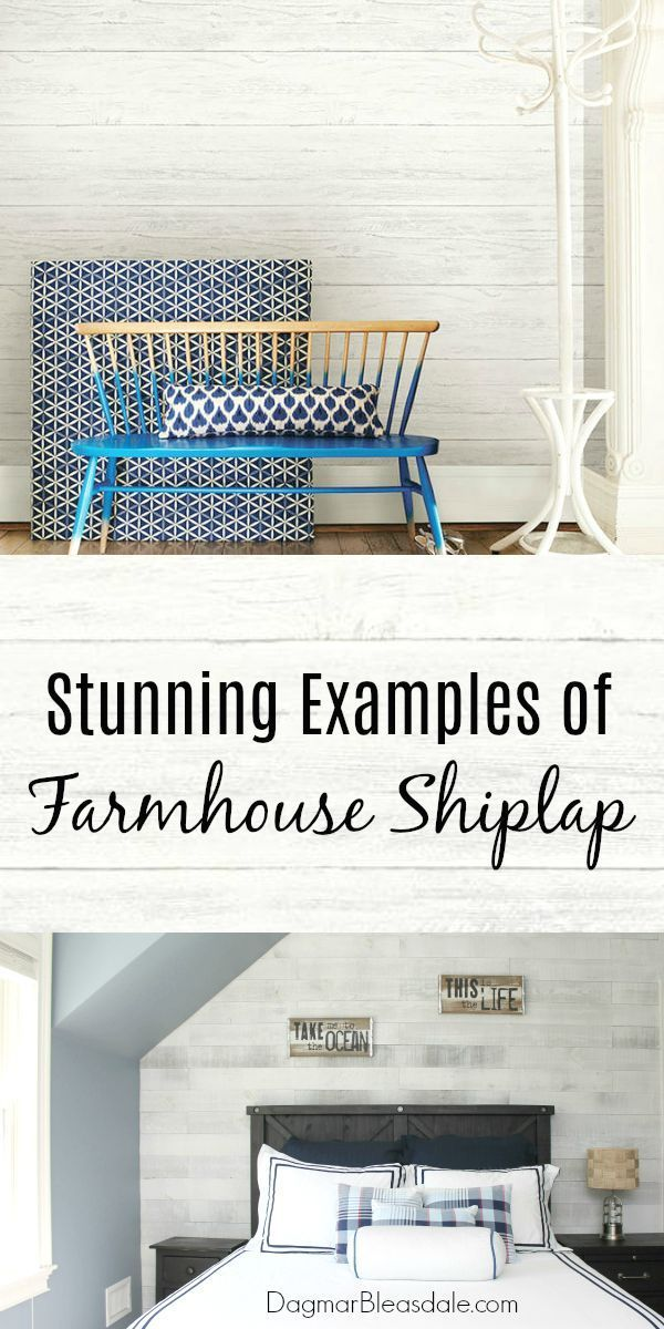 Add shiplap to any room for the farmhouse look! Here are 11 stunning examples. #farmhouse #cottage #shiplap #paneling #DIY #wallpaper
