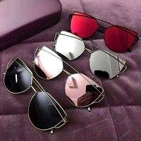 Wish   Fashion Cat Eye Glasses Mirror Sun Glasses Women Men Fashion Sunglasses Unisex Unique Flat Ladies Sun Glasses Summer Outdoors