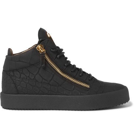 GIUSEPPE ZANOTTI Rubberised Croc-Effect Leather High-Top Sneakers. #giuseppezanotti #shoes #sneakers