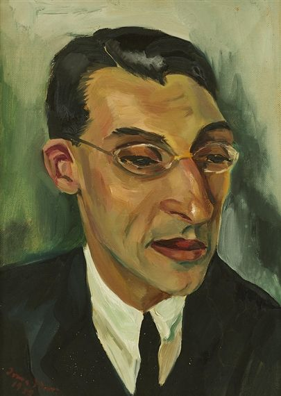 Artwork by Irma Stern, Portrait of Dr Louis Herrman, Made of oil on board