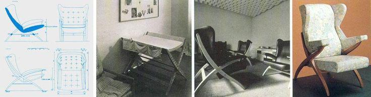 Franco Albini, mobili, 1938-1959 Nell'ordine: disegno esecutivo per la poltrona della stanza di soggiorno dell'appartamento di Albini a Milano, 1940. I due elementi della struttura ad X sono sovrapposti e non incastrati; il sedile è appeso per mezzo di cinghie in cuoio alla struttura. Potrrona Fiorenza, prima versione prodotta dalla Arflex. Poltrona Fiorenza, ancora oggi in produzione per Arflex; la seduta non è più appesa alla struttura.