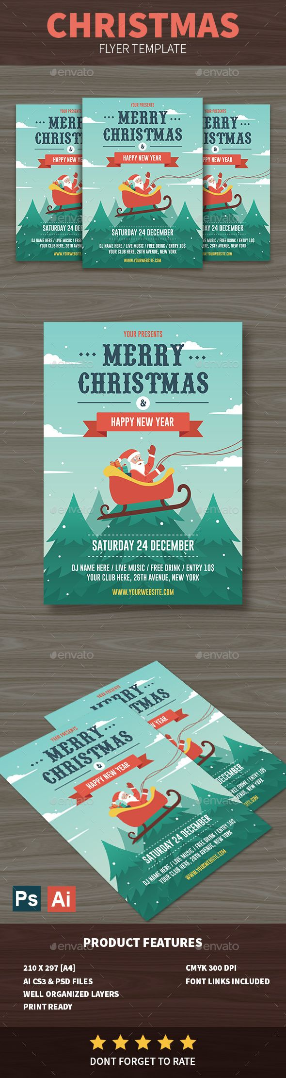 Christmas Flyer — Photoshop PSD #holiday #card • Download ➝ https://graphicriver.net/item/christmas-flyer/18932775?ref=pxcr