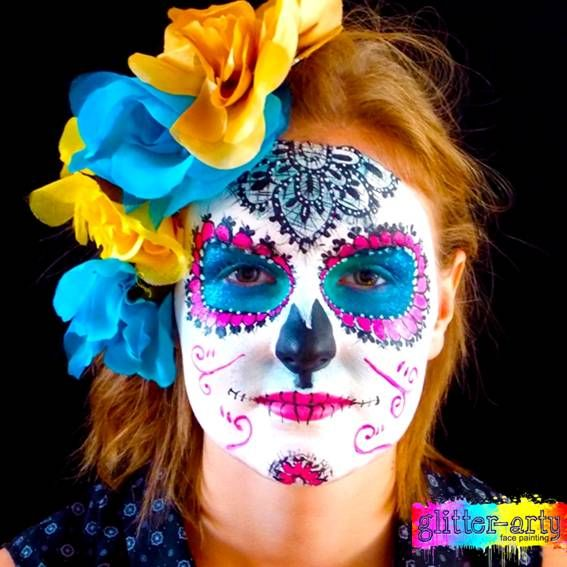Sugar Skull Face Painting / Arty make-up for adults by Glitter-Arty Face Painting, Bedford, Bedfordshire