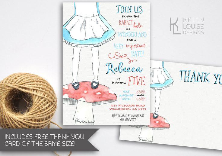 Alice in Wonderland Birthday Invitation | Alice in Wonderland Party | Alice In Wonderland | Mad Hatters Tea Party | Printable Invites (177) by kellylouisedesigns on Etsy