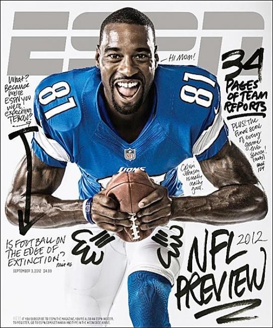 ESPN magazine, Sept 2012 (handwritten type meets sport)