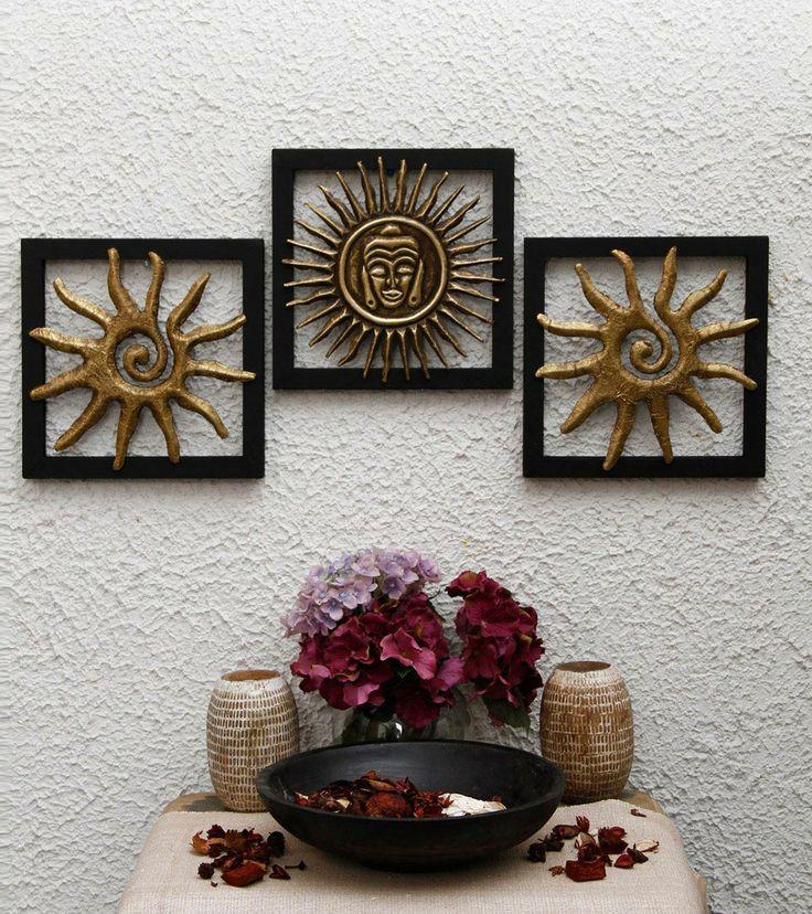 Brass embossed sun buddha wall hanging