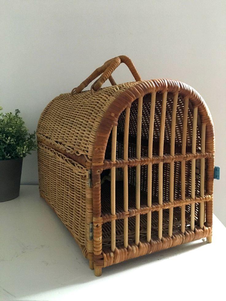 Vintage Rattan Wicker Pet Carrier Crate Wicker, Pet