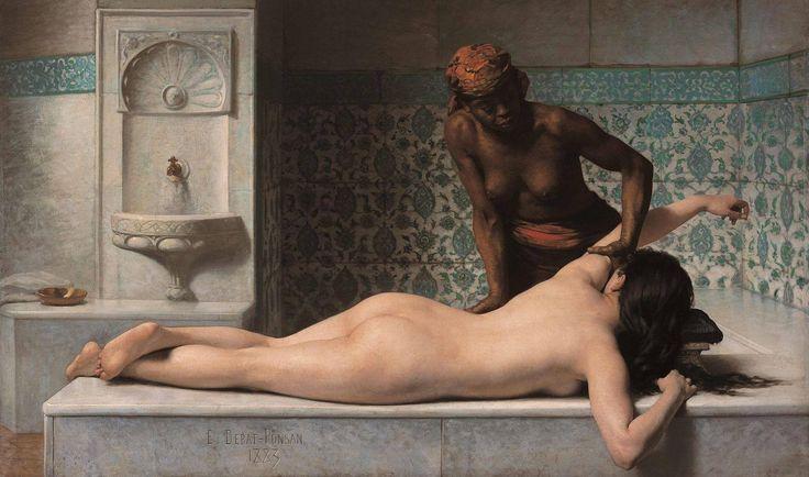 Edouard Debat-Ponsan, Le massage. Scène de hammam. 1883, huile sur toile (127 x 210 cm).