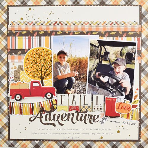 """Fall Adventure layout by Becki Adams with the """"Hello Fall"""" Collection from #CartaBellaPaper"""