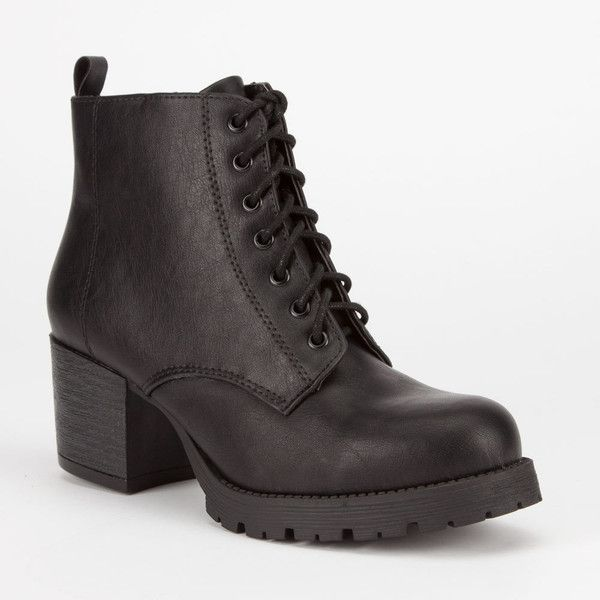 Soda Nevitt Womens Military Boots ($37) ❤ liked on Polyvore featuring shoes, boots, ankle boots, black, short black boots, black military boots, faux suede lace-up booties and black ankle boots