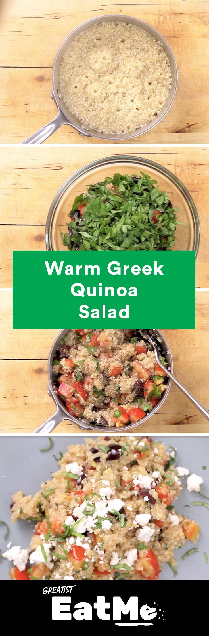 It's all Greek to us. #healthy #quinoa #salad http://greatist.com/eat/quinoa-salad-with-herbs-and-feta-recipe-video