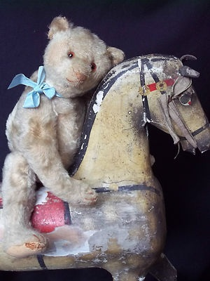 Antique 1918 Steiff Mohair Bear with Antique Rocking horse...Old Pals must stay together !!