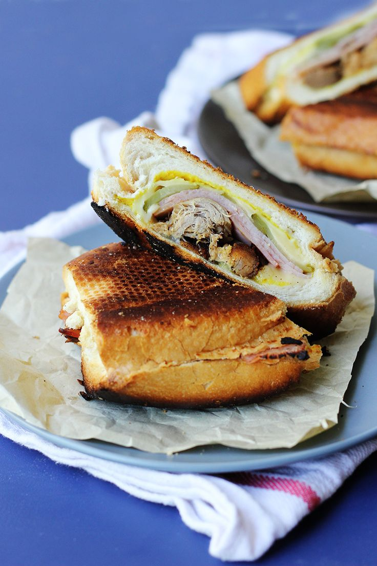 Cubano! | The Sugar Hit½ cup cooked pulled pork (or more to taste) 2 pieces of white baguette (about 6 inches) American (yellow) mustard 6 thin slices swiss cheese 1 dill pickle, thinly sliced. 4 thin slices of smoked leg ham softened butter, to cook