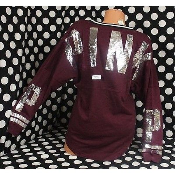 Pre-owned Victorias Secret Lpinkbling Sequin Maroon Varsity Crew... ($143) ❤ liked on Polyvore featuring tops, red, purple sequin top, purple top, oversized tops, maroon tops and slouchy tops