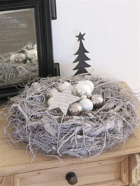 Christmas nest in black, white and silver #silver #christmas #inspiration