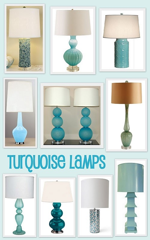 Beside lamps will have turquoise stems.  I may do a DIY project for this though...